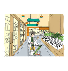 Supermarket interior with shopper girl grocery vector