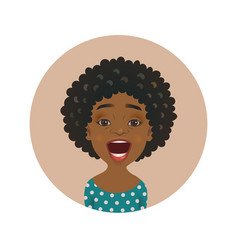 Surprised afro american woman avatar vector