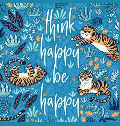 Think happy be happy quote print vector