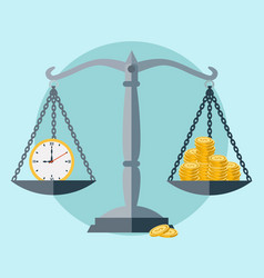 time is money scale balance concept vector image
