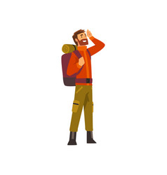 Tourist man with backpack outdoor adventures vector