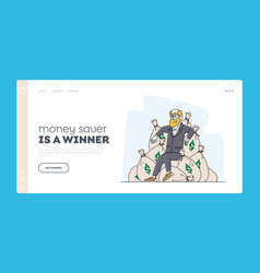 Wealth and prosperity landing page template rich vector