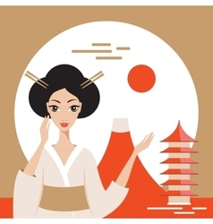 Welcome to Japan banner with Geisha Mountain Fuji vector