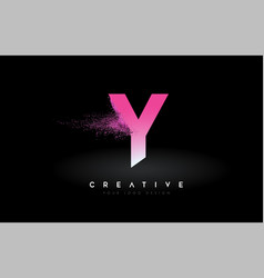 Y letter logo with dispersion effect and purple vector