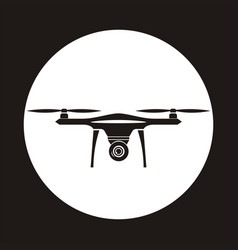 drone icon in circle copter with camera aerial vector image