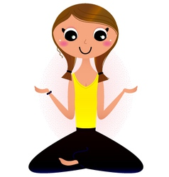 Lady sitting in yoga lotus pose vector image vector image