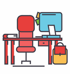 office desk with computer and chair concept line vector image