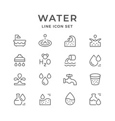 set line icons of water vector image vector image