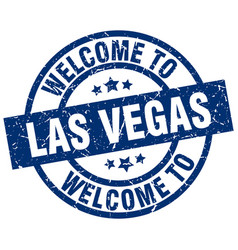 welcome to las vegas blue stamp vector image