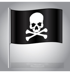 black pirate flag with skull and bones eps10 vector image