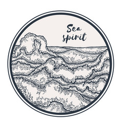 hand drawn sea waves in circle marine background vector image