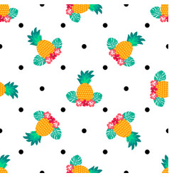 seamless tropical pattern with pineapples vector image vector image