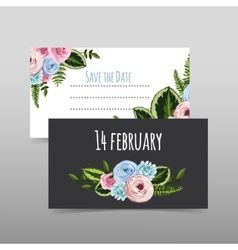 Set of valentines cards with painted flower vector image