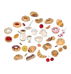 Set with different pastry Different taste and vector image vector image