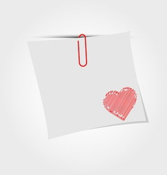 White paper note with clip and red heart vector image
