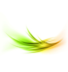 abstract smoke on white curves gree orange vector image vector image
