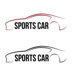 Calligraphic sport car logo vector image
