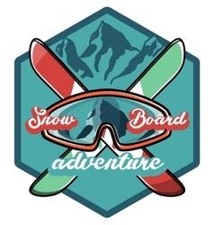 Color vintage Ski sport emblem vector image