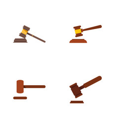 flat icon court set of justice court defense and vector image vector image