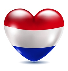 Heart shaped icon with flag of Netherlands vector image vector image