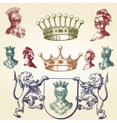 Royal heraldry icons vector image vector image