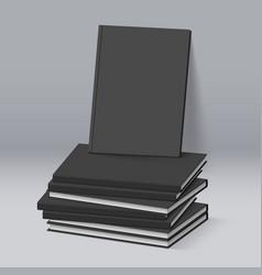 Stack of blank black books business mockup vector
