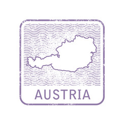 stamp with contour of map of austria vector image
