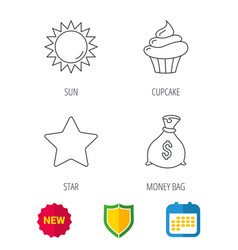Sun star and cupcake icons vector
