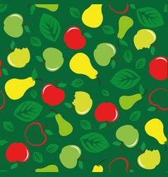 Apple and pear seamless pattern green background vector
