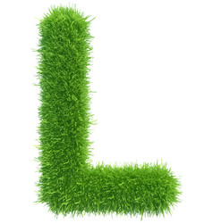 capital letter l from grass on white vector image vector image