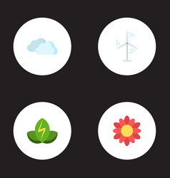 flat icons sky blossom eco energy and other vector image