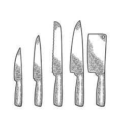Set kitchen knifes and manual meat grinder vector