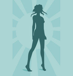 sexy woman silhouette on sun burst background vector image
