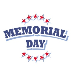 us memorial day logo isolated on white background vector image