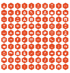 100 wine icons hexagon orange vector image