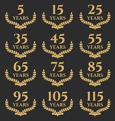 5-115 anniversary laurel wreath vector