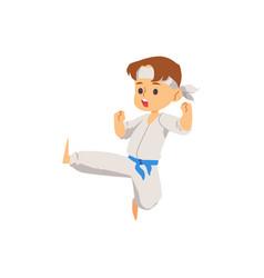 A karate kid boy dressed in vector