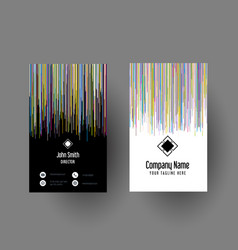 abstract striped business card design vector image