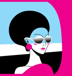 Beautiful portrait a girl in sunglasses vector