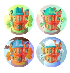 Bright volume icons of old houses in vector image