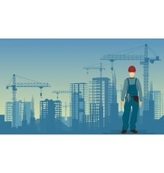 Builder man worker on the under construction vector