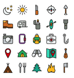 camping icons set on white background vector image