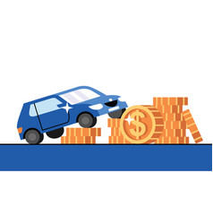 Car and golden dollar coins on white background vector