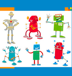 cartoon robots funny characters set vector image