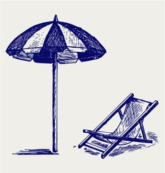 Chair and beach umbrella vector