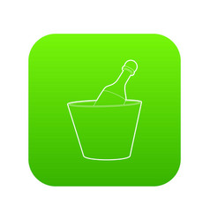 champagne in bucket icon green vector image
