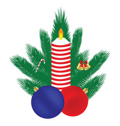 christmas composition candle balls branches of a vector image