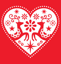 Christmas heart with deer greeting card vector