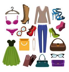 clothes footwear and accessories vector image