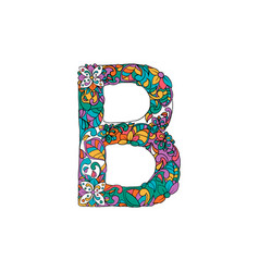 Colorful ornamental alphabet letter b font vector